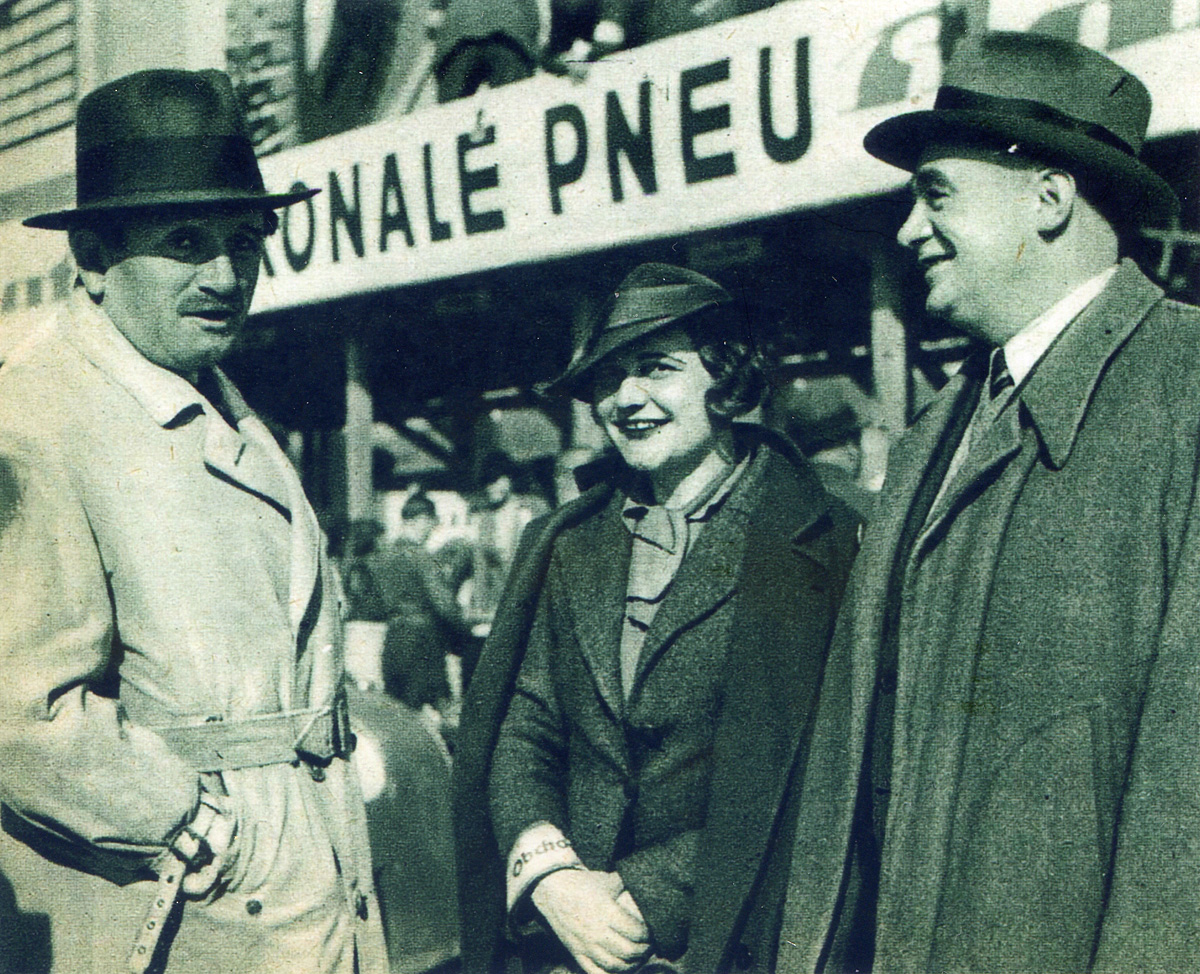 At the Grand Prix of Czechoslovakia on the Masaryk circuit in Brno. From the left Ferdinand Porsche, Eliška Junková, Hans Ledwinka (Tatra)